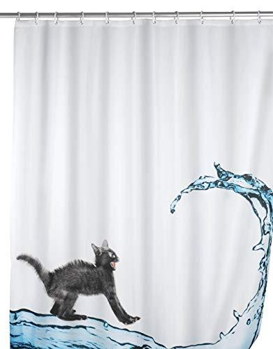 WENKO Anti-Schimmel Duschvorhang Cat, Textil-Vorhang mit Antischimmel Effekt fürs Badezimmer, waschbar, wasserabweisend, mit Ringen zur Befestigung an der Duschstange, 180 x 200 cm