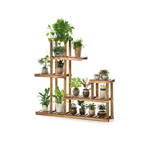Flower Stand- Support de plancher en bois Multi - Storey Balcon Salon Flower Shelf Cadre de fleur de carbonisation Carbonisation Multi - support de fleur de viande 124x26x124cm Felice Home