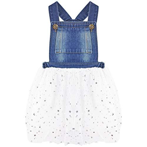 Bebé Niñas Vaquera Vestido Dungaree Peto Falda de Burbuja Mezclilla Tutú Falda Estrellas Vestido de Princesa Blanco 4-5 años