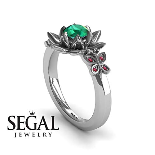 Unique Lotus Engagement ring 14K White Gold Butterfly Lotus Flower Vintage Ring Edwardian Ring Green Emerald With Ruby - Kaitlyn