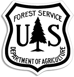 American Vinyl White US Forestry Shield Shaped Sticker (Logo Forest Service Hike)