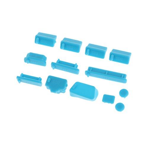 B Blesiya Juego de Cubierta de Conector Antipolvo de Silicona Universal de 13 Piezas para Portátiles - Azul