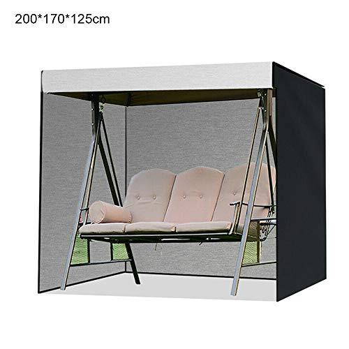 JKHK 3 Seater Garden Swing Cover, Waterproof, Windproof, Anti-UV, Heavy Duty Rip Proof 210D Oxford Fabric Large Outdoor Garden Hammock Cover with Zips (200/220 * 170 * 125cm) - Black