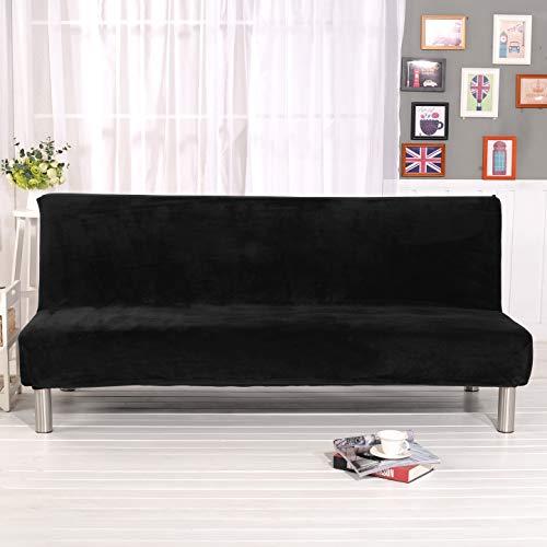 19V78 Armless Futon Cover Stretch Velvet Sofa Bed Slipcover Full Size Black Sofa Bed Cover Stretch Fabric No Armrest Couch Slipcovers Plush Sofa Shield Machine Washable, Black