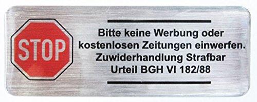 3D brievenbus sticker geborsteld aluminium - 402001 - Alstublieft geen reclame volgens BGH 80 x 30 mm, uitstekende bescherming tegen weersinvloeden, geen goedkope foliestickers