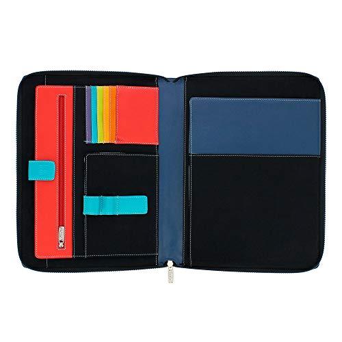 DUDU Cartella Portadocumenti A4 con Zip in Pelle Nappa Organizer Portablocco a Cerniera con Alloggio Tablet Nero