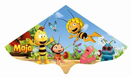 Paul Günther 1197 - Kinderdrachen mit Biene Maja Motiv, Einleinerdrachen aus robuster PE-Folie für Kinder ab 4 Jahre mit Wickelgriff und Schnur, ca. 115 x 63 cm groß