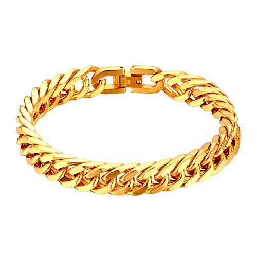 JewelryWe Schmuck Herren Armband Edelstahl Panzerkette Armband schwer Glieder Link Kettenarmband 21CM Armkette Armreif Gold