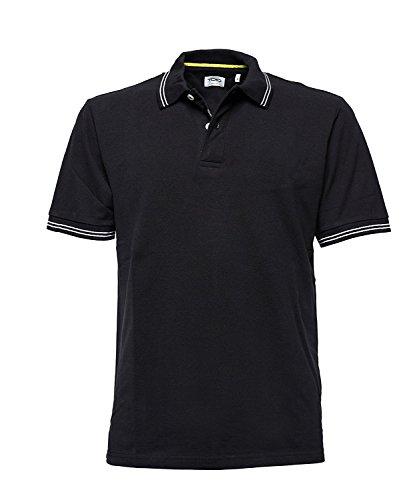 Polo Bay à manches courtes avec col côtelé et bord des manches pour homme, 100% coton Ouverture à deux boutons, Homme, Carbonium noir., X-Large