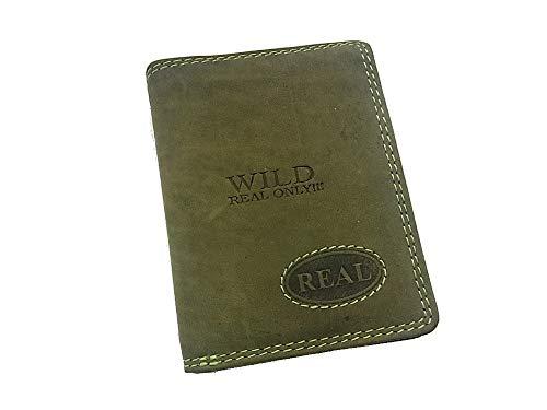 Wild Real Only Herren Geldbörse Portemonnaie Portmonee aus echtem Leder 10,3 x 8cm x 2cm Khaki Green