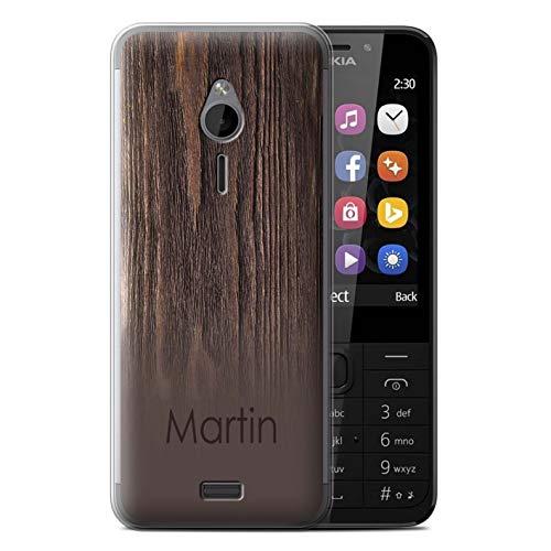 eSwish Personalisiert Individuell Holzmaserung Effekt Gel/TPU Hülle für Nokia 230 / Dunkle Antike Kirsche Design/Initiale/Name/Text Schutzhülle/Case/Etui