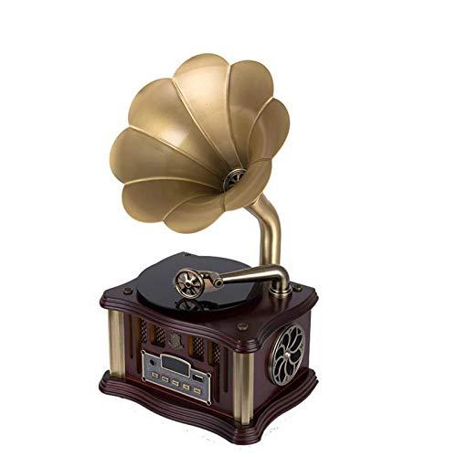 Huachaoxiang Gramófono Bluetooth, Versión Portátil Turnaltable Estilo Retro Vintage Subwoofer Professional Subwoofer/Aux-In CD FM/Am Radio Regalo para La Decoración del Hogar,A