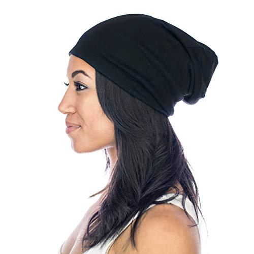 Grace Eleyae GE Sleep Cap | Slap Silky Sleeping Stylish Beanie Hat Premium Quality Head Cover for Curly Hair Women Soft & Smooth Sleep Caps (Black)