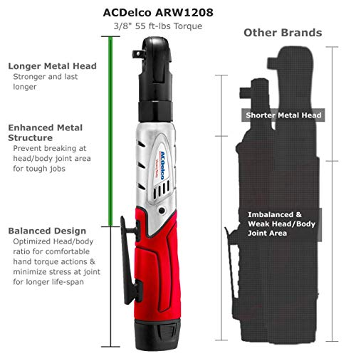 """ACDelco Cordless 3/8"""" Ratchet Wrench 12V Angled 55 ft-lb Tool Set with 1 Batteries - Regular Charger - Carrying Case ,ARW1208"""