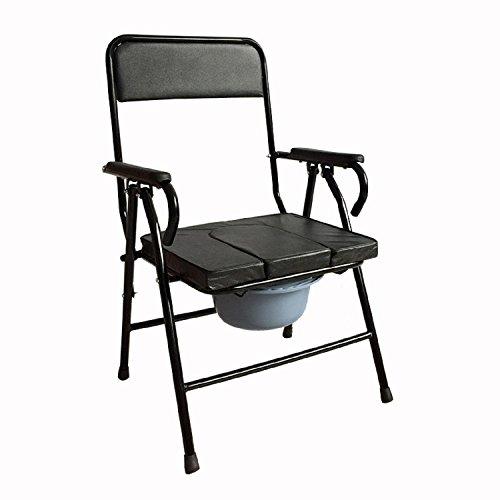 GAOJIAN Anciana Cómoda Silla Taburete Mujeres Embarazadas Sentarse WC Metal Plegable Anciano Silla De Baño Inhabilitado Paciente Móvil WC Alto 87Cm Ancho 54Cm Largo 53Cm