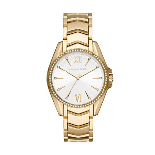 This 38mm Whitney watch features a white sunray dial with gold-tone stick indexes Quartz three-hand movement Attachment: gold-tone stainless steel bracelet. Case Size: 38mm; Case Thickness: 7mm; Band Width: 18mm Water Resistant up to 5 ATM, 50 Meters...