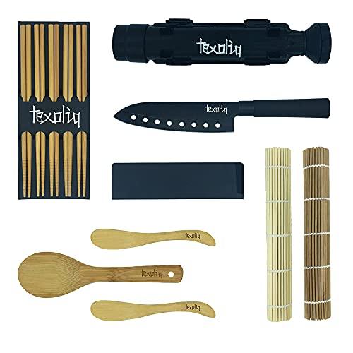 TEXOLIQ - Kit Sushi Fai da Te Professionale Completo   2021   Set Sushi Bazooka per Regalo...