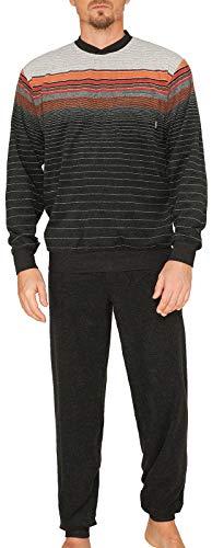 hajo - Herren Schlafanzug lang (Pyjama) anthrazit orange Klima-Frottee* 56