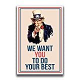 JSC376 Uncle Sam We Want You Classroom Poster | 18-Inches by 12-Inches | Premium 100lb Gloss Poster Paper
