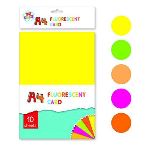 JAM Paper Neon - Cartulina de papel (43 libras, 8,5 x 11 cm, 10 hojas), color verde neón fluorescente