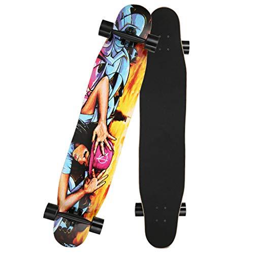 AMRU Penny Board Pastel, 34 x 8 Zoll, Cruiser Skateboard, 9-lagiges Ahornholzdeck, Drop-Through-Longboard, mit Pu-Flash-Rädern, für Free-Style, Downhill, Cruising-A