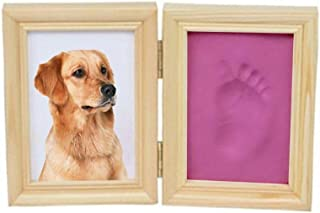 WNGGADH Lot de 5 cadres photo commémoratifs pour animal de compagnie avec empreintes de pattes de chien et chat en argile