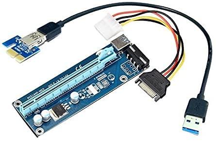 APKLVSR PCIe Riser - Kit de extensión PCIe para minería PCI-E 009S (1 x a 16 x Riser adaptador con LED, con cable de extensión USB 3.0 de 60 cm, SATA a cable Molex de 6 pines)
