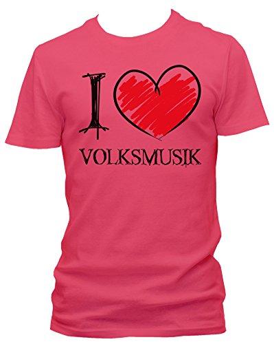 NEON Herren T-Shirt I Love Volksmusik Fun NEON, Größe:L;Farbe:neon pink