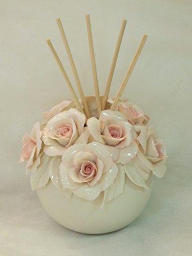 Visconti VASETTO con Rose Pink in Porcellana CAPODIMONTE - BOMBONIERA Matrimonio -