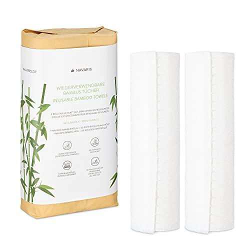 Navaris Küchenrolle Bambus 2er Set - waschbare Bambustücher - 2x Bambusrolle Küchenpapier Küchentuch - saugstark reißfest wiederverwendbar