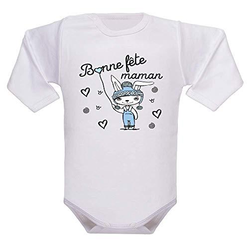 bodybebepersonnalise.fr Body garçon, manches longues, bodies enfant, maman, fête des mères, cadeau, brassière bébé, pressions à l'entrejambe - blanc, 3-6 mois
