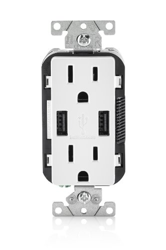 Leviton T5632-W 15-Amp USB Charger/Tamper Resistant Duplex Receptacle, White, 1-Pack