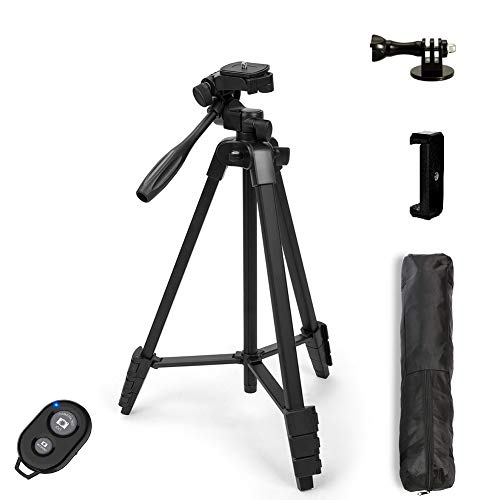 """Dezuo 54"""" Camera Tripod Stand for Phone, DSLR, Webcam, Projector, Gopro with Universal Cellphone Mount, Bluetooth Remote Shutter and Gopro Adapter with Carry Bag (Matte Black)"""