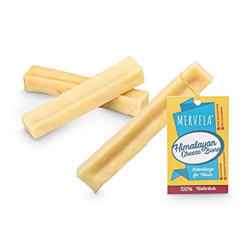 MERVELA Hueso masticable de queso para perros de tamaño medio [61g por barrita] - con delicioso sabor a queso - 100% natural - cuidado dental óptimo para tu amigo de cuatro patas (3 piezas)