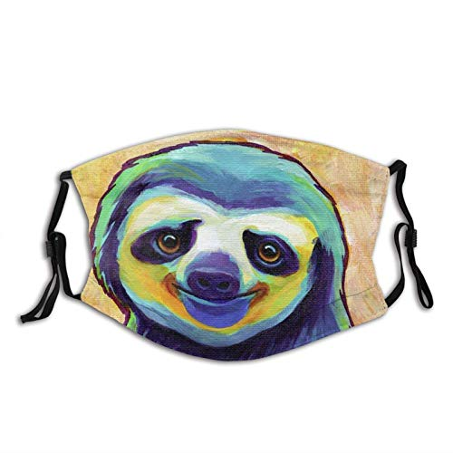 Happy Sloth01 Face Mask Cute Sloth Adult Filter Mask Dust Balaclava, Breathable and Washable Black 1 Pcs