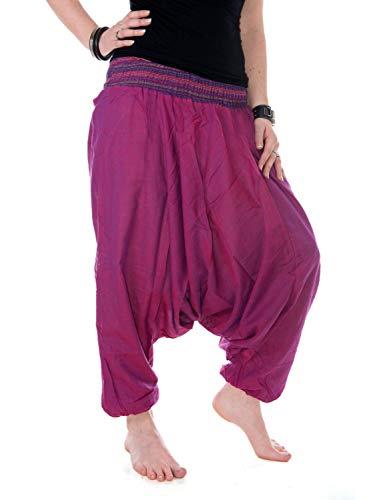 Vishes - Alternative Bekleidung - Baumwoll Haremshose mit gestreiftem Bund Blaurosa