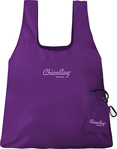 ChicoBag Original Compact Reusable Grocery Bag with Attached Pouch and Carabiner Clip, Purple