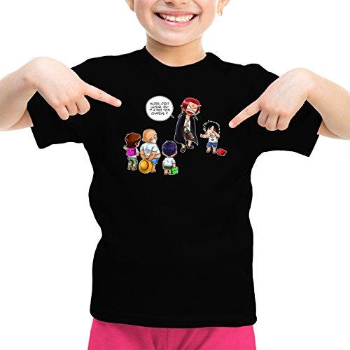 T-Shirt Enfant Fille Noir One Piece parodique Luffy et Shanks : C'est Lui ! (Parodie One Piece)