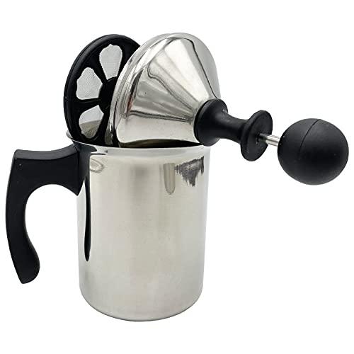 Linea Felicia Milchaufschäumer manuell Schaumbecher Edelstahl Milchaufschäumer Cup Hand klassisch 750 ml / 430 ml Sieb aus Kunststoff Cappuccino Latte Macchiato schneller Milchschaum