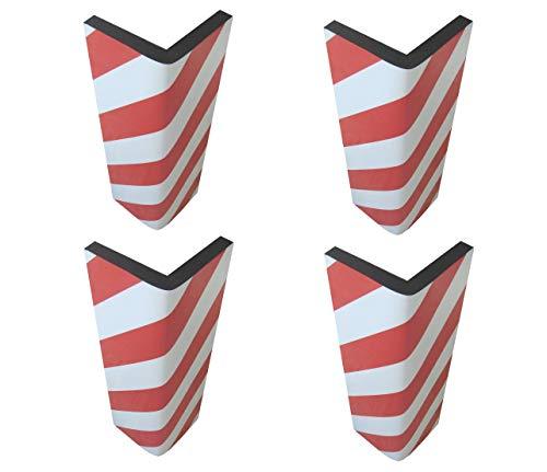SNS SAFETY LTD Protector de Esquina Adhesivo, en Espuma Goma, para la Protección de las Columnas de Garaje y Aparcamientos, 44x25x2 cm, Rojo Blanco (4 piezas)