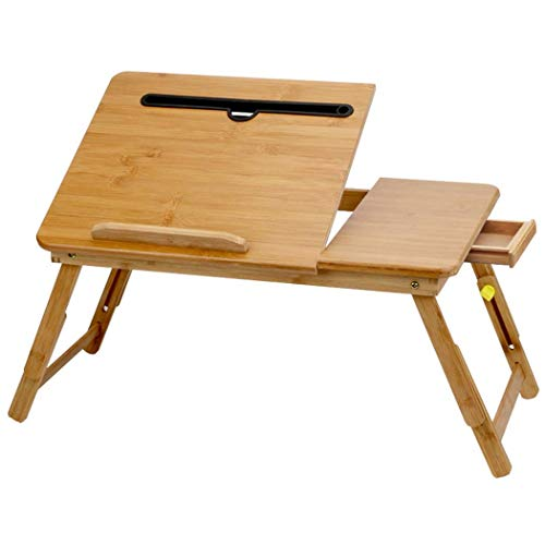 LXD Tables,Bamboo Folding Bed Simple Notes Tablet Desk Desk Practical Multi-Function Computer Desk,Have Drawer,Small