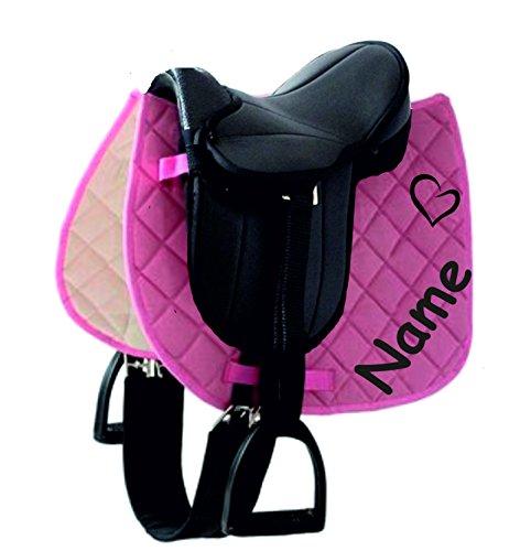 der-pferdeshop Sattelset für Shetty oder Pony mit Namen und Motiv selbst gestalten (Schwarz/Rosa-Pink)