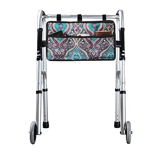 Walker Bag and Pouches, Tote Bag for Folding Walkers, Rollator or Scooter, Wheelchair Side Bag for Seniors, Provides Hands Free Storage for Handicap, Disabled, Walker Accessories
