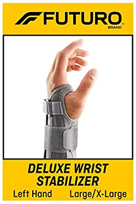 FUTURO Deluxe Wrist Stabilizer, Helps Support Symptoms of Carpel Tunnel Syndrome, Weak or Injured Wrists, Breathable, Large/X-Large