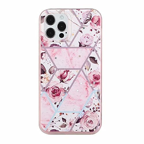TYWZ Glitter Hoesje voor iPhone 12 Pro Max, Shockproof Soft TPU + Hard Plastic Beschermhoes voor Vrouwen Meisjes – Roze…