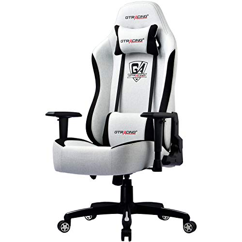 GTRACING Gaming Chair Office Chair High Back Fabric Computer Chair Desk Chair PC Racing Executive Ergonomic Adjustable Swivel Task Chair with Headrest and Lumbar Support (White)