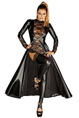 Damen wetlook gothic Mantel in schwarz dehnbar mit Spitze Leder-Imitat lang S