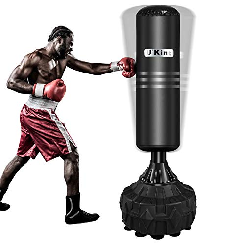 Yoken Freestanding Punching Bag, Stand Kickboxing Bags with Durable Suction Cup Rubber Base for Adult Youth - Men Stand Heavy Boxing Bag | Black