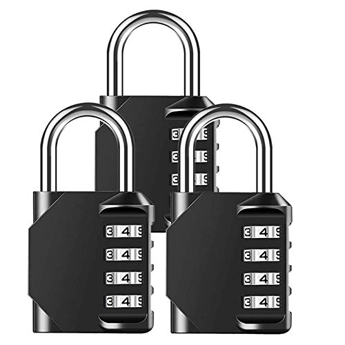 Camisin 3 Pack Combination Padlock Heavy Duty Lock Waterproof 4-Digit Combination Lock for School, Gym, Outdoor Shed Locker