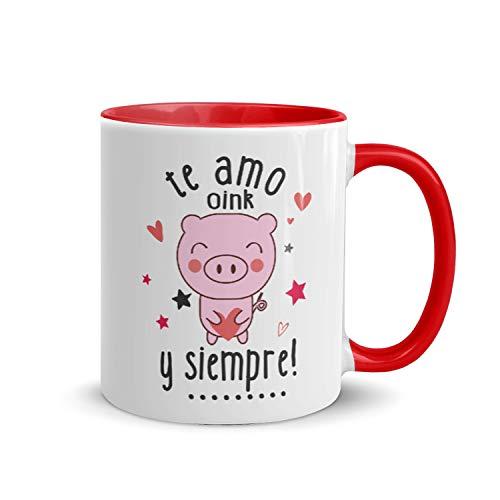 Kembilove Tazas de Desayuno para Parejas – Taza de Café Rojas con Mensaje Te Amo y siempre! – Regalos Originales para Regalar en San Valentín, Cumpleaños – Tazas de 350 ml